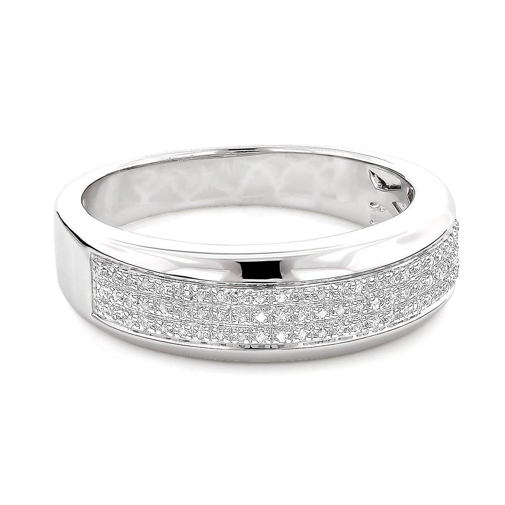 Silver Wedding Bands: Mens Diamond Ring  (View 12 of 15)