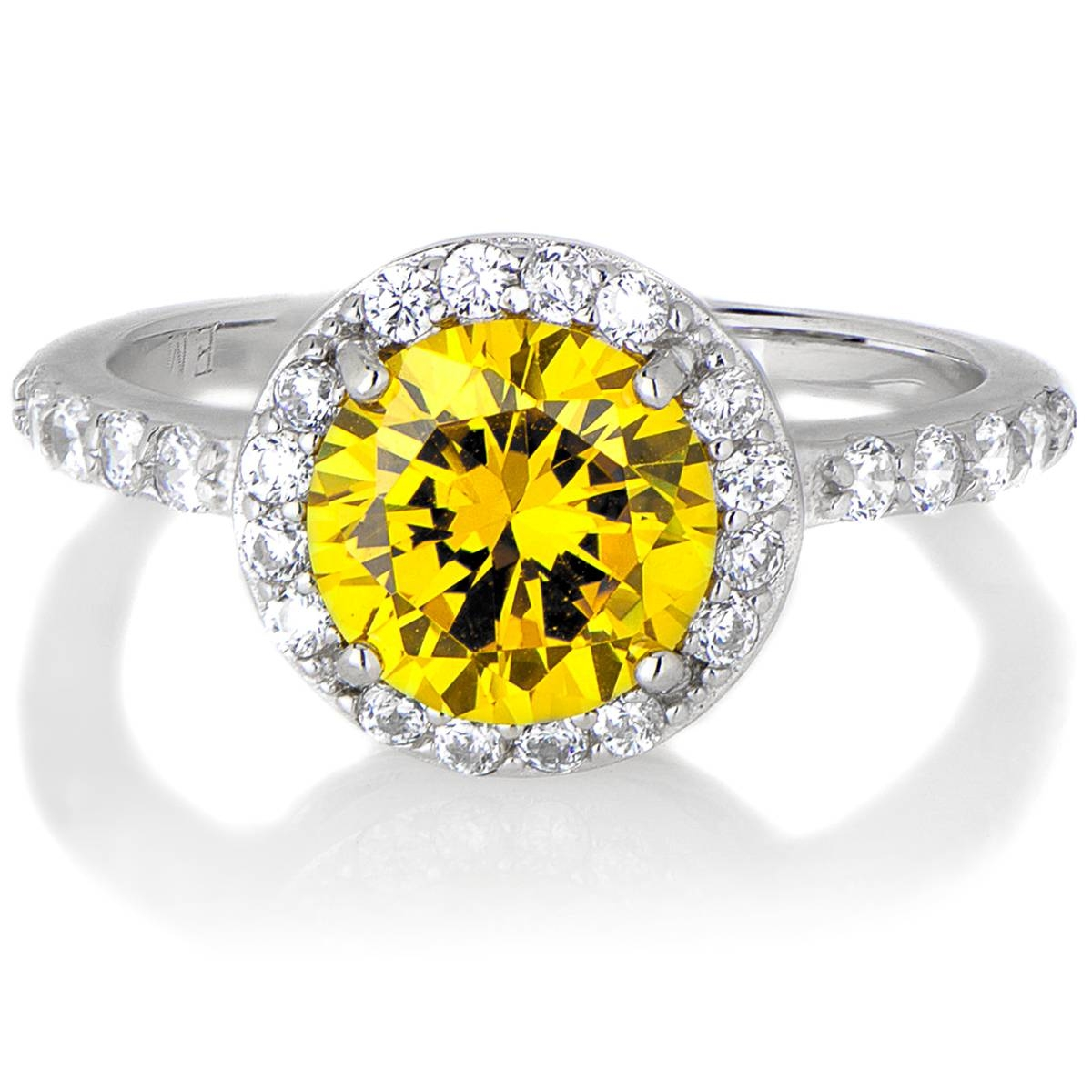Silvertone November Imitation Birthstone Ring – Citrine Cz Inside November Birthstone Engagement Rings (View 11 of 15)