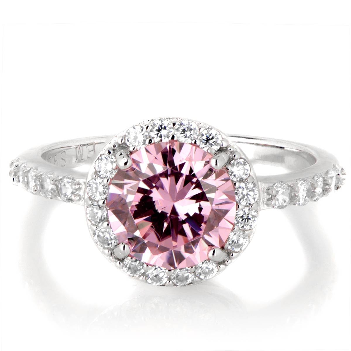 Silvertone October Imitation Birthstone Ring – Pink Cz Within October Birthstone Engagement Rings (View 8 of 15)