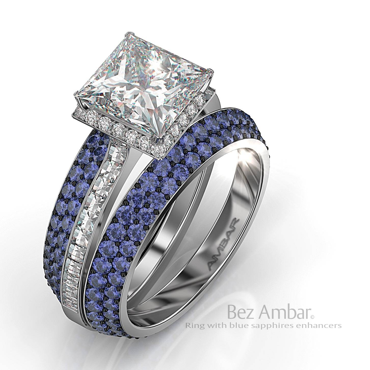 Silvet Blaze Engagement Ring Set With Peridot Frame Pertaining To Blue Sapphire Wedding Rings (View 14 of 15)