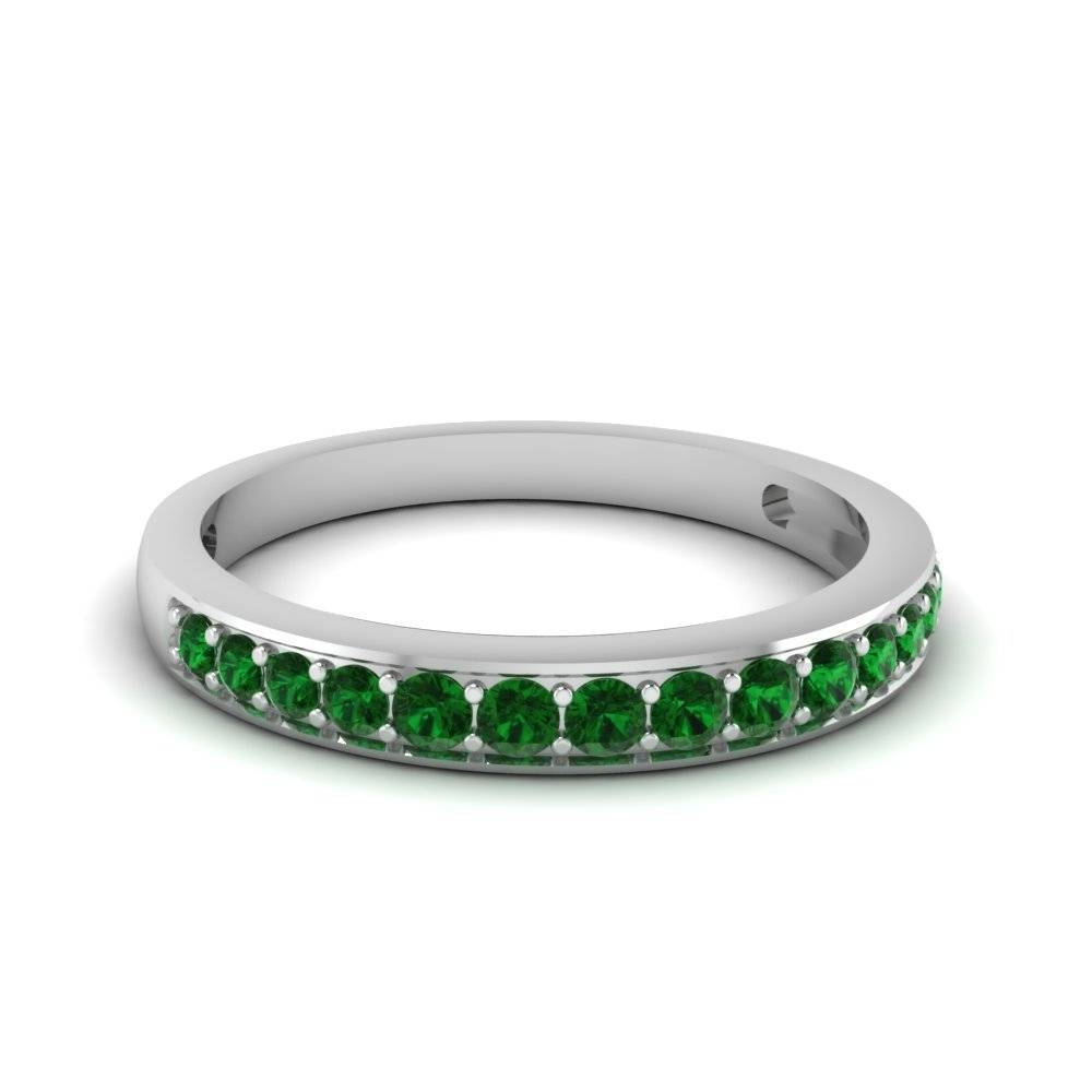 Simple Round Band With Green Emerald In 14K White Gold Intended For Emerald Wedding Rings For Women (View 11 of 15)