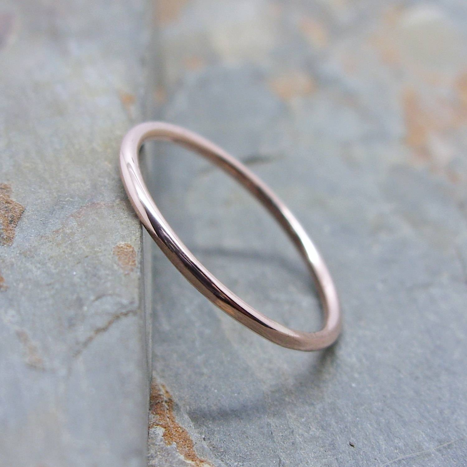 Simple Thin 14K Rose Gold Wedding Band In Choice Of Finish With Regard To Skinny Wedding Bands (View 6 of 15)