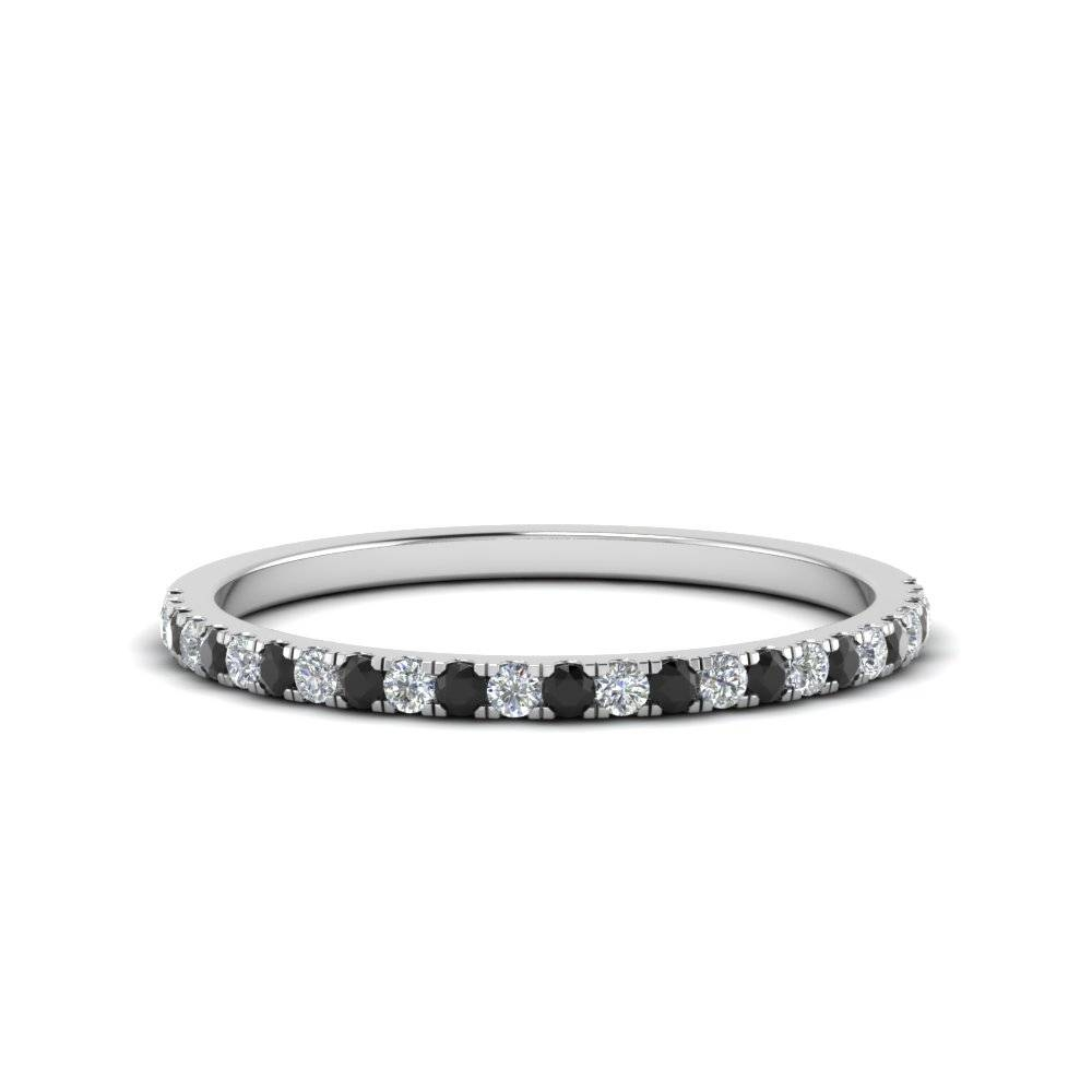 Simple Thin Wedding Band With Black Diamond In 14k White Gold Within Thin Wedding Bands With Diamonds (View 7 of 15)