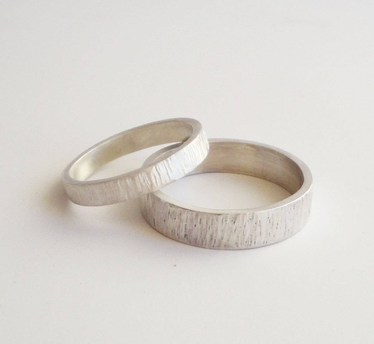 Simple Wedding Rings Set Handmade Hammered Sterling Silver Inside Mens Handmade Wedding Bands (View 8 of 15)