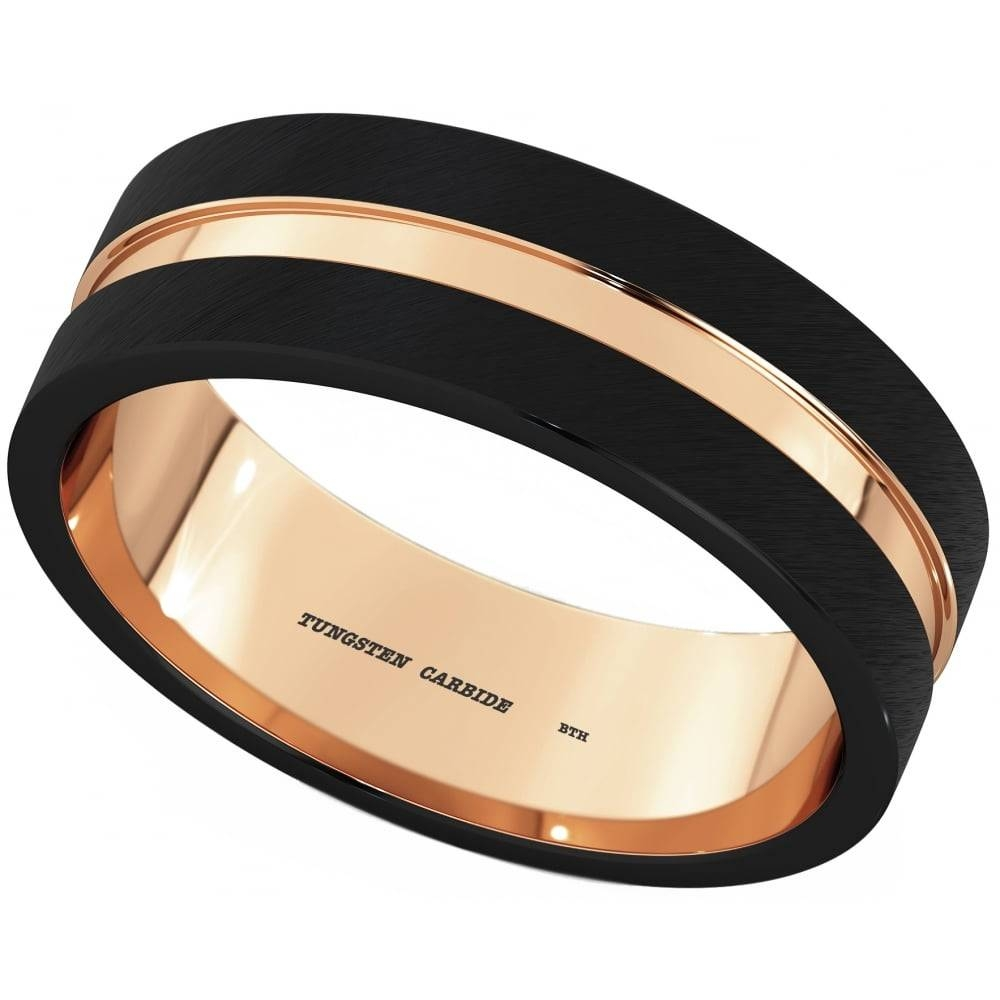 Simply Yours Mens Black/rose Gold Tungsten Wedding Ring Within Tungsten And Rose Gold Wedding Bands (View 11 of 15)