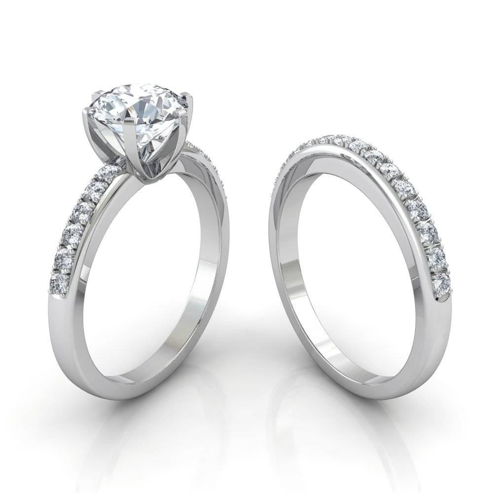 Six Prong Pavé Solitaire Engagement Ring And Wedding Band Bridal Set For Pave Wedding Rings (View 11 of 15)