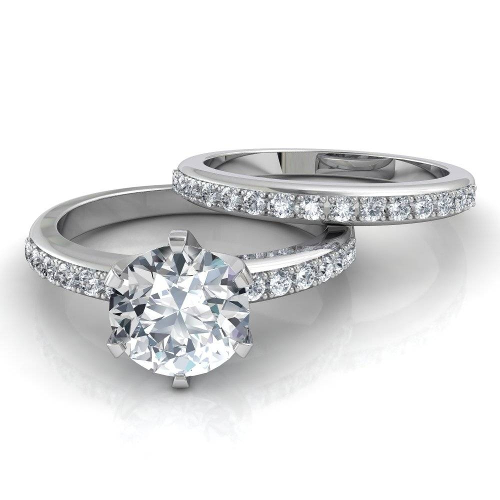 Six Prong Pavé Solitaire Engagement Ring And Wedding Band Bridal Set Throughout Engagement Band Rings (Gallery 2 of 15)