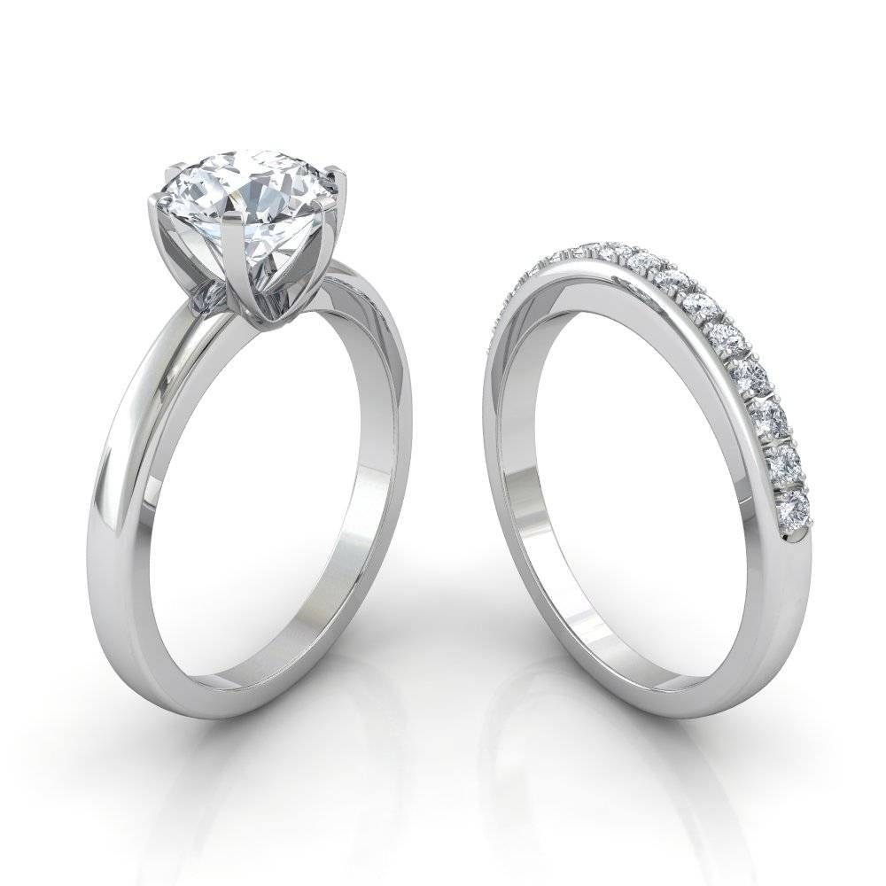 Six Prong Solitaire Engagement Ring & Pavé Wedding Band Bridal Set With Engagement And Wedding Bands (View 8 of 15)