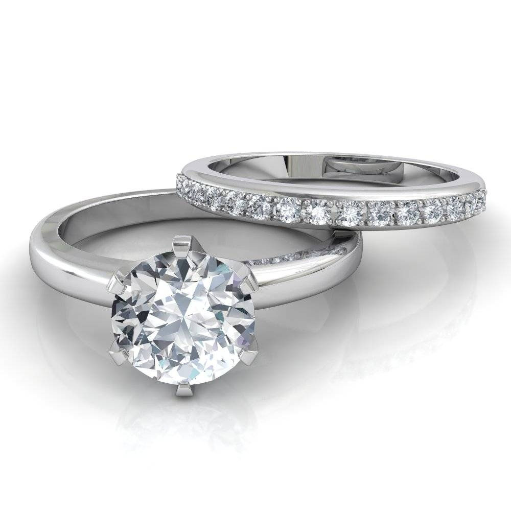 Six Prong Solitaire Engagement Ring & Pavé Wedding Band Bridal Set Within Engagement Rings With Bands (View 8 of 15)
