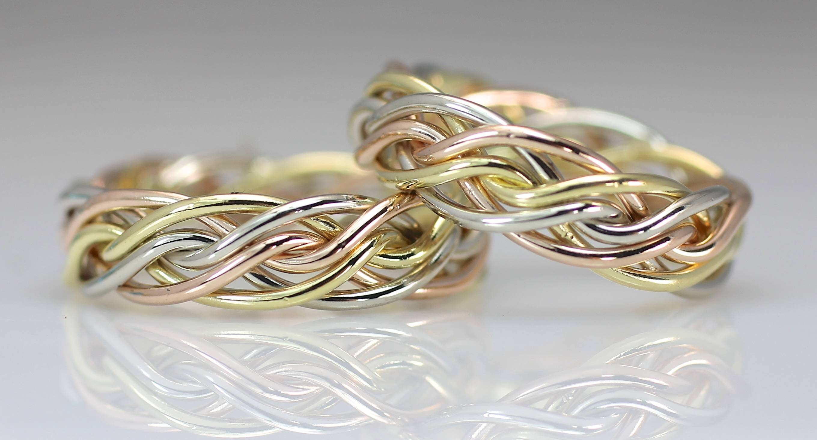 Six Strand Open Weave Braided Wedding Ringsartist Todd Alan With Regard To Three Color Braided Wedding Bands (View 4 of 15)