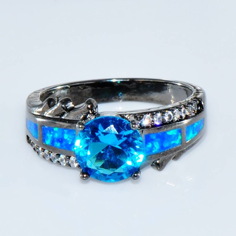Size 6/7/8/9 Women 10Kt Black Gold Filled Ocean Blue Opal Rings With Blue Opal Wedding Rings (View 13 of 15)
