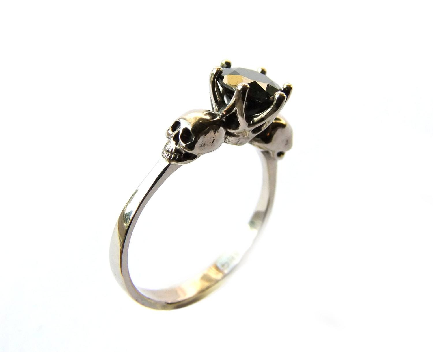 Skull Engagement Ring Black Diamond White Gold Memento Mori Within Black Diamond Skull Engagement Rings (View 12 of 15)