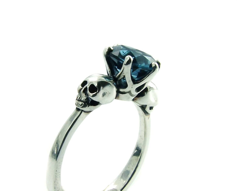 Skull Engagement Ring Blue Topaz Sterling Silver Skull Ring Within Gothic Engagement Rings For Women (View 10 of 15)