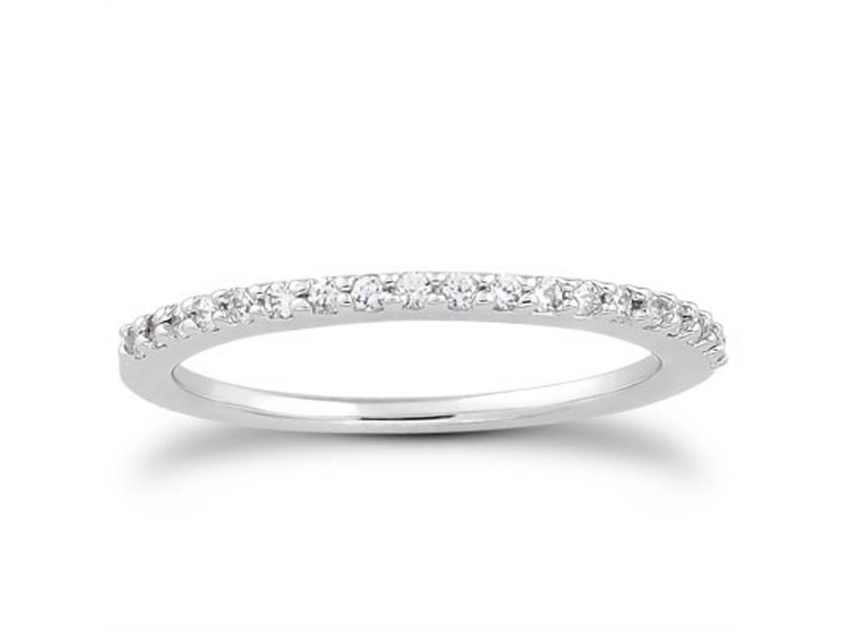 Slender Micro Prong Diamond Wedding Ring Band In 14k White Gold Throughout Wedding Rings With Diamond Band (View 2 of 15)