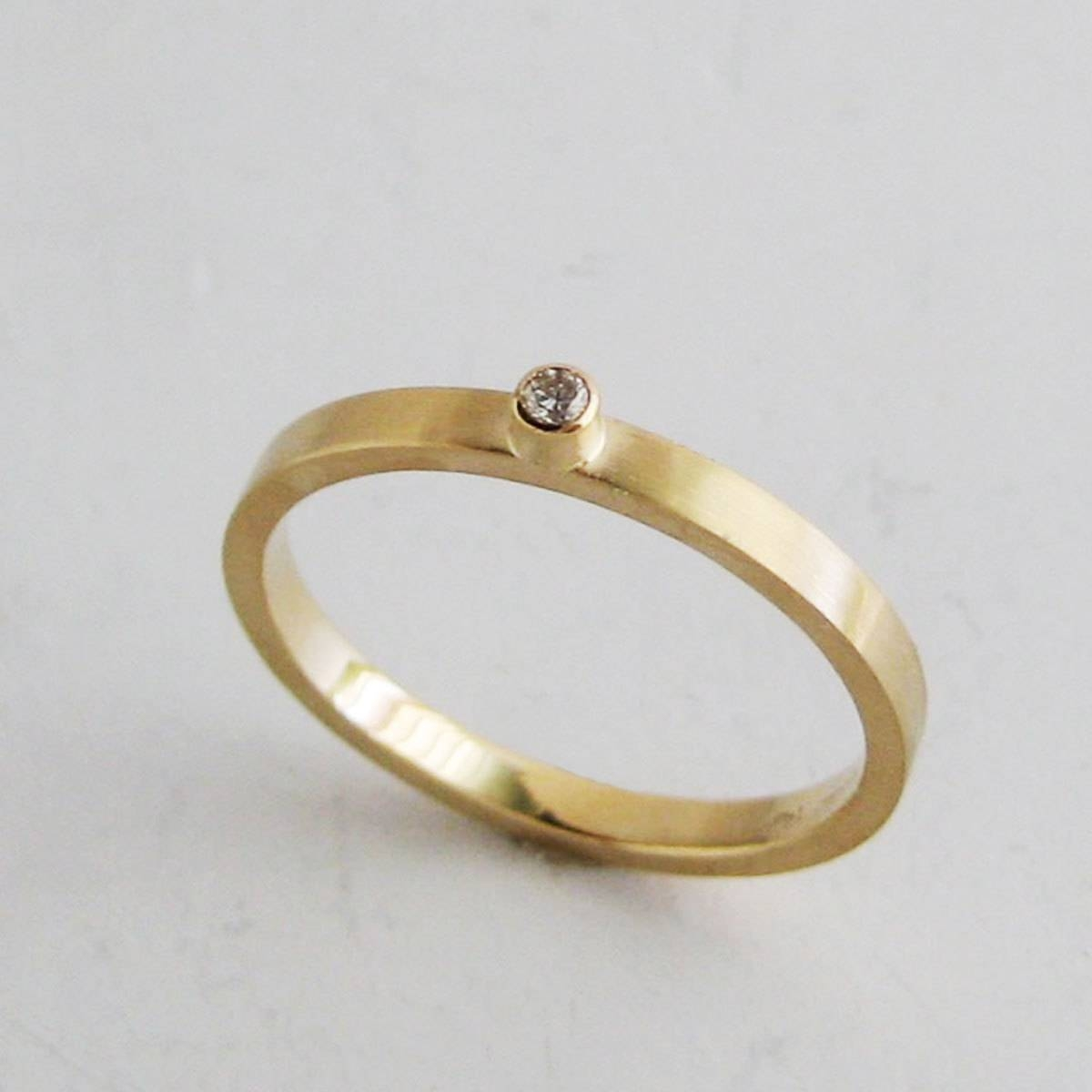 Small Diamond Ring2mm Gold Band With Bezel Set For Small Diamond Wedding Bands (View 4 of 15)