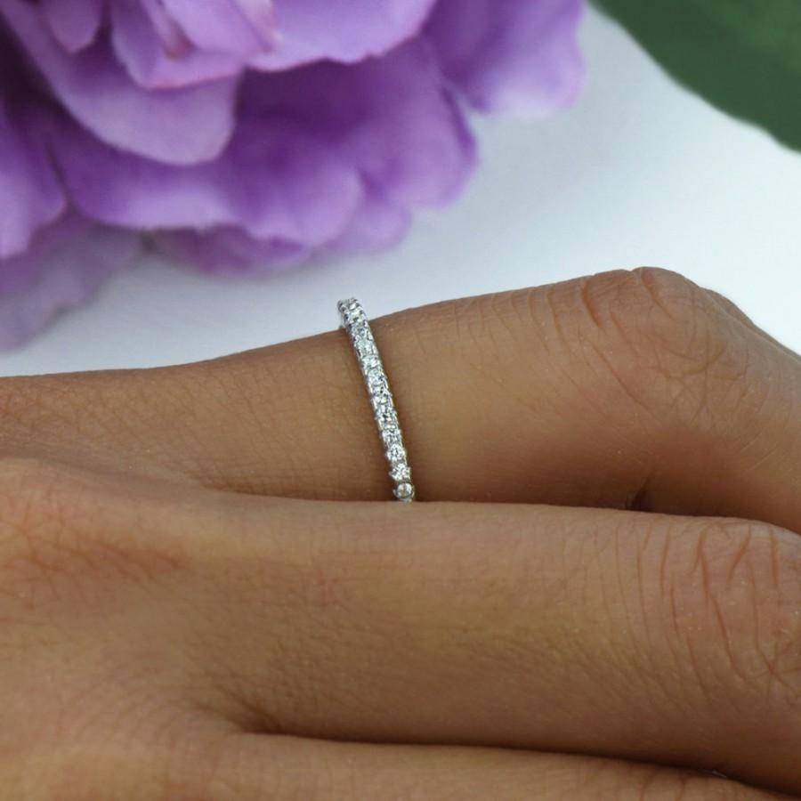 Small, Half Eternity Ring, 1.5Mm Wedding Band, Engagement Ring Throughout  (View 12 of 15)
