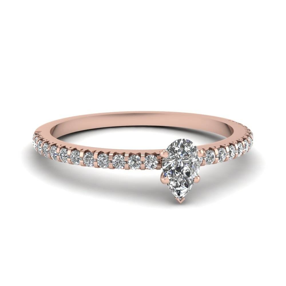 Small Pear Affordable Diamond Engagement Ring Band In 14K Rose Intended For  Small Diamond Wedding Bands
