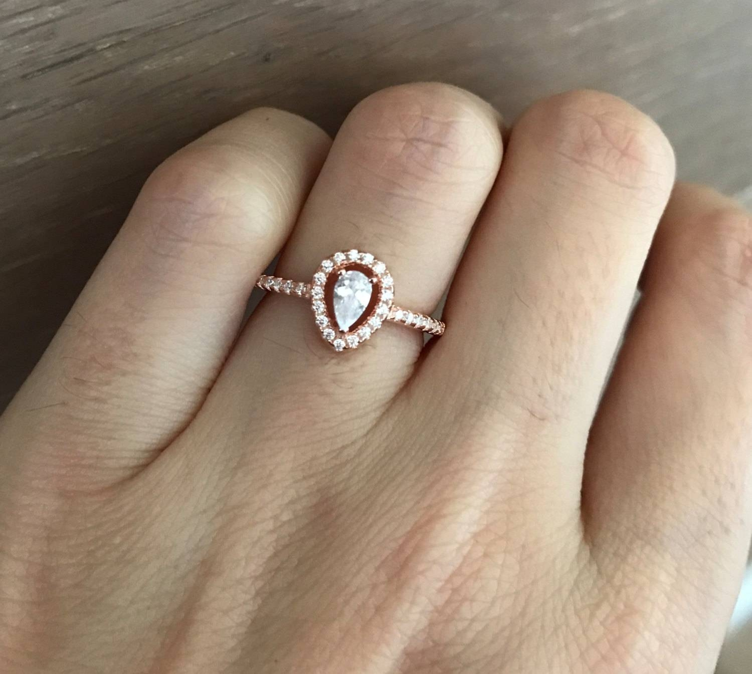 Small Rose Gold Promise Ring Pear Shape Engagement Ring Halo With Wedding Band For Pear Shaped Engagement Rings (View 14 of 15)