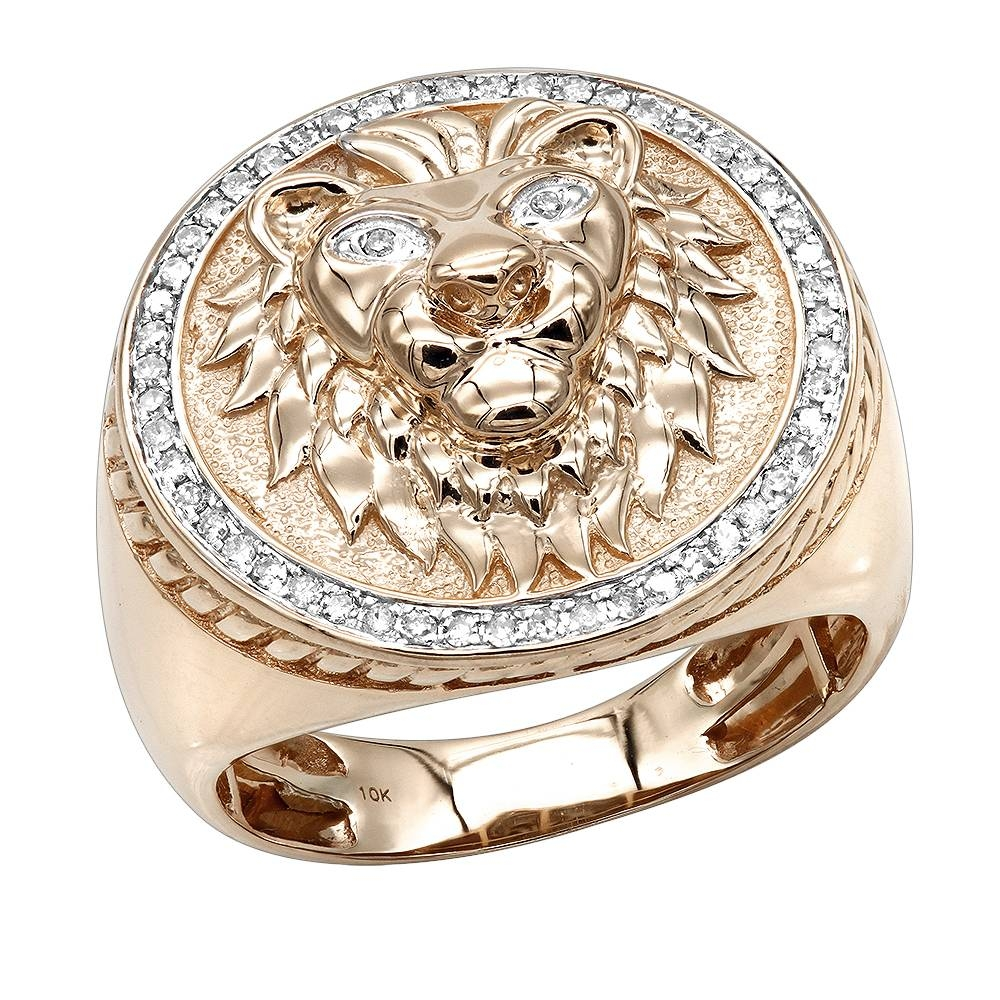 Solid 10K Gold Lion Head Diamond Ring For Men  (View 15 of 15)