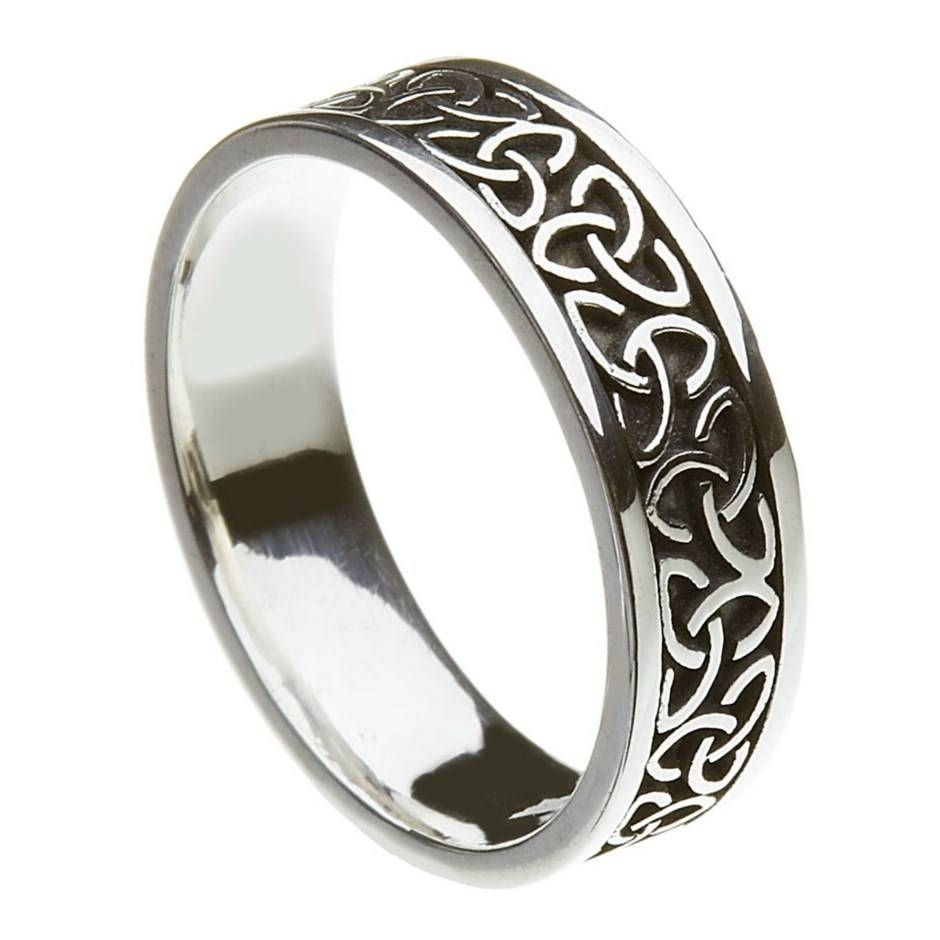 Solid Trinity Knot Silver Band – Celtic Wedding Rings – Rings From Pertaining To Trinity Knot Engagement Rings (View 10 of 15)