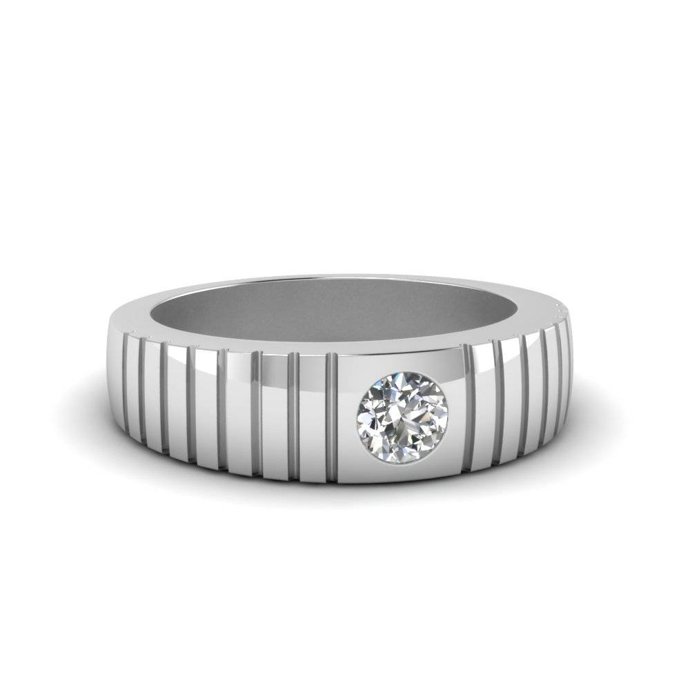 Solitaire Diamond Wide Band For Men In 14K White Gold Throughout Wide Band Wedding Rings Sets (View 11 of 15)