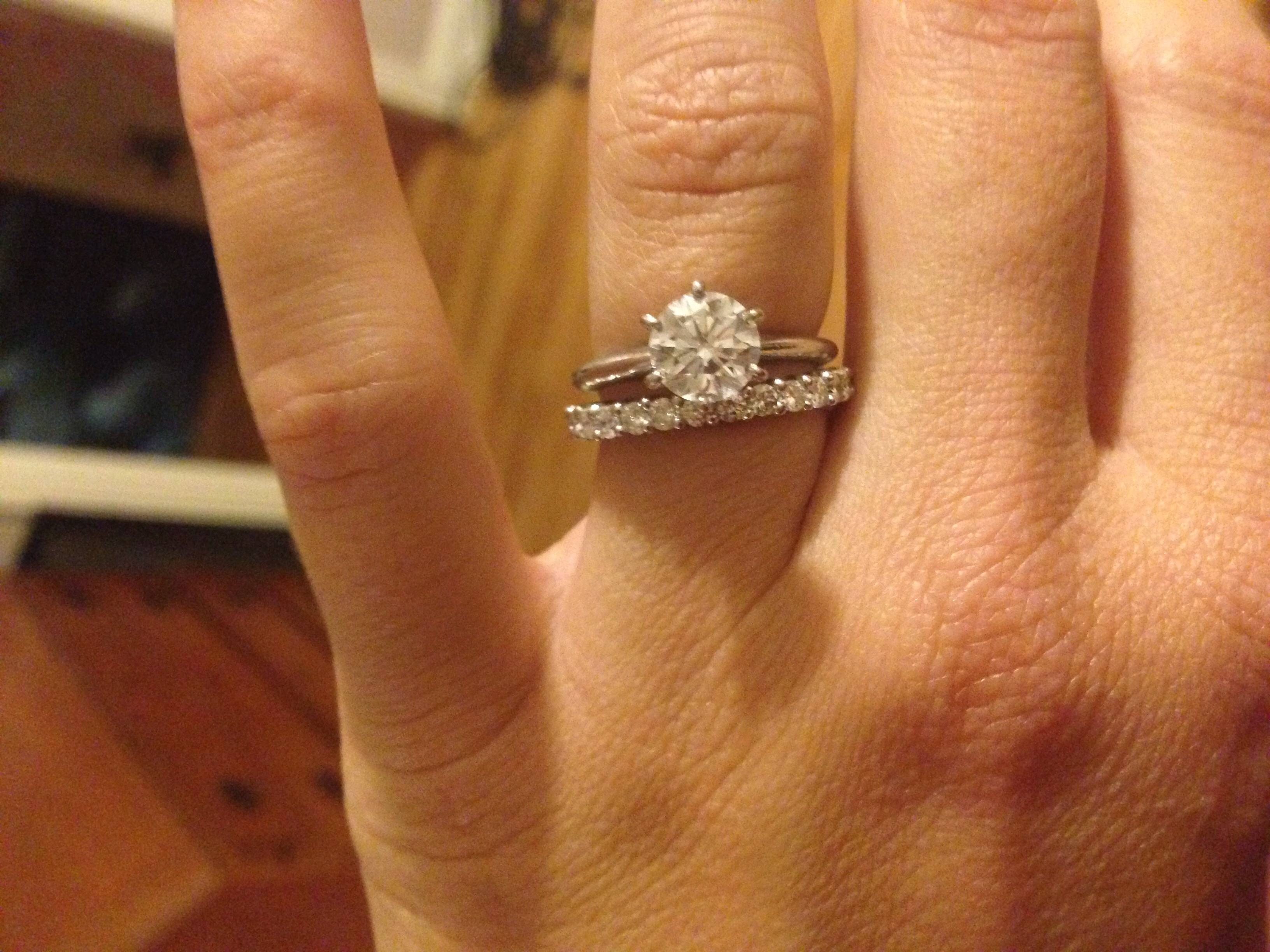 Solitaire Engagement Paired With Infinity Band – Weddingbee Throughout Infinity Band Wedding Rings (View 14 of 15)