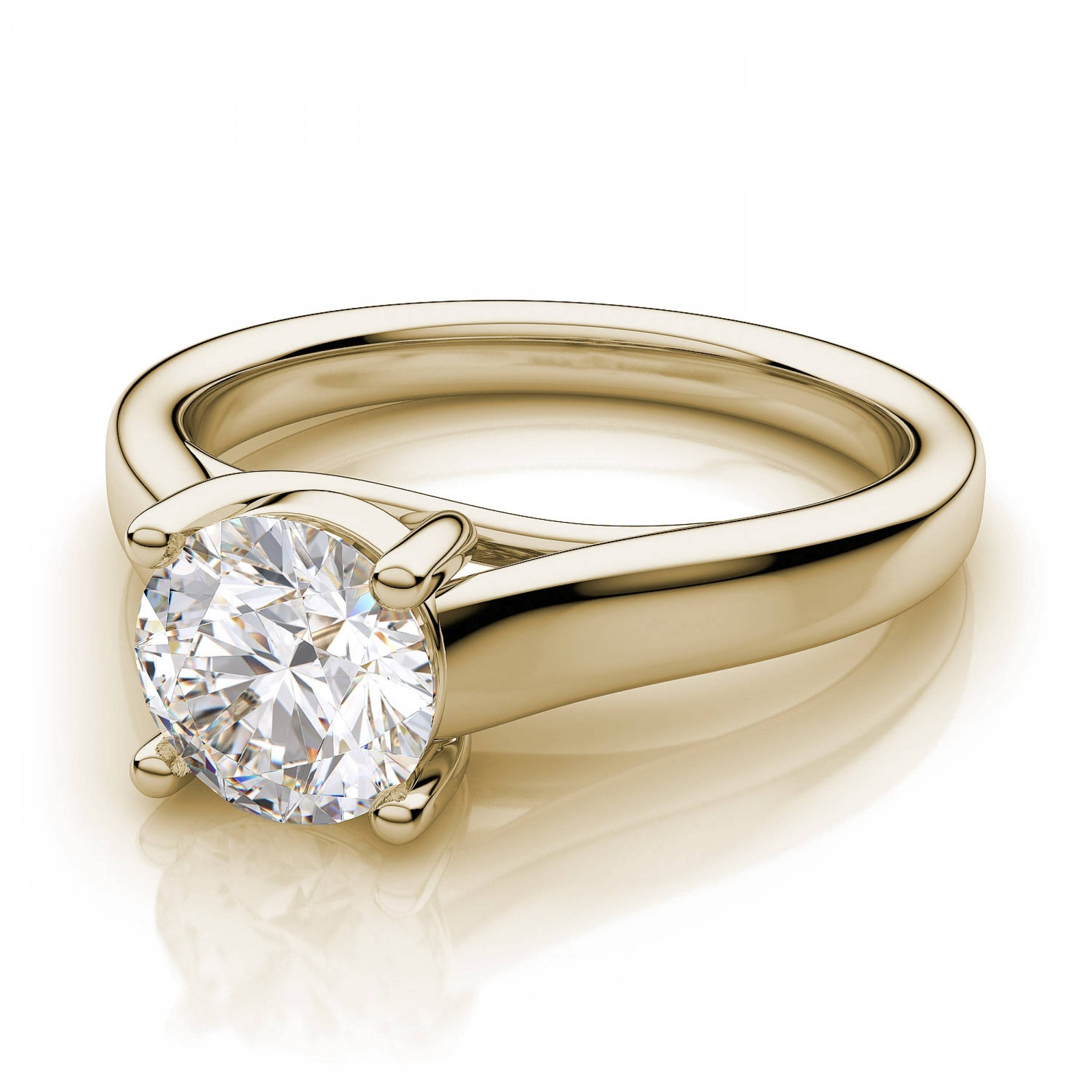 Solitaire Engagement Ring – 18K Yellow Gold Regarding Platinum Wedding Rings Settings (View 13 of 15)