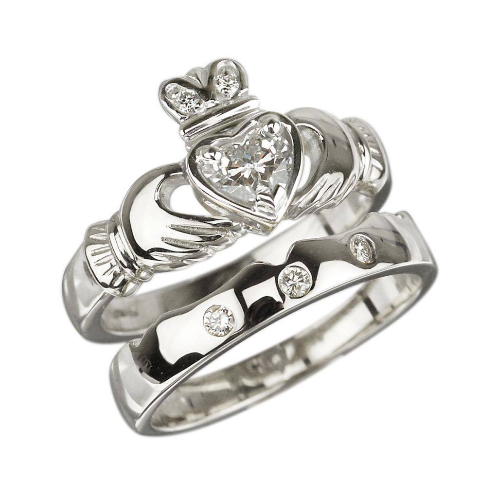 Solvar Claddagh Rings 18k White Gold Claddagh Diamond Engagement With Diamond Claddagh Engagement & Wedding Ring Sets (View 4 of 15)