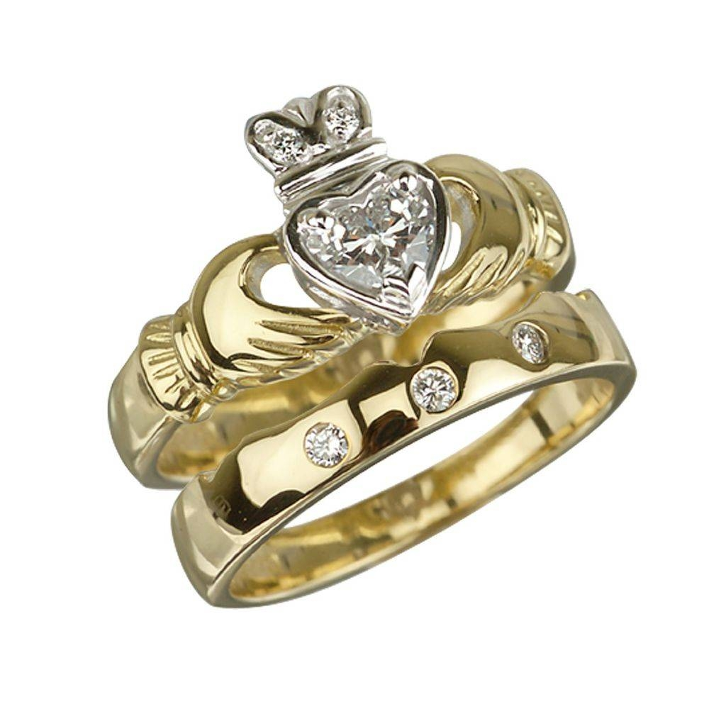 Solvar Rings 18k Gold Diamond Claddagh Engagement Ring & Wedding Regarding Engagement Claddagh Rings (View 12 of 15)
