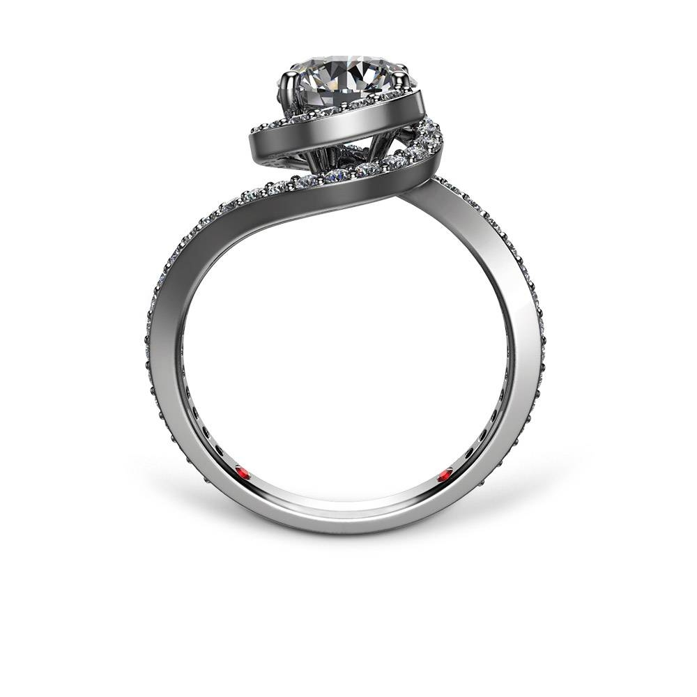 Spiral Pave Engagement Ring In Spiral Engagement Rings (View 9 of 15)