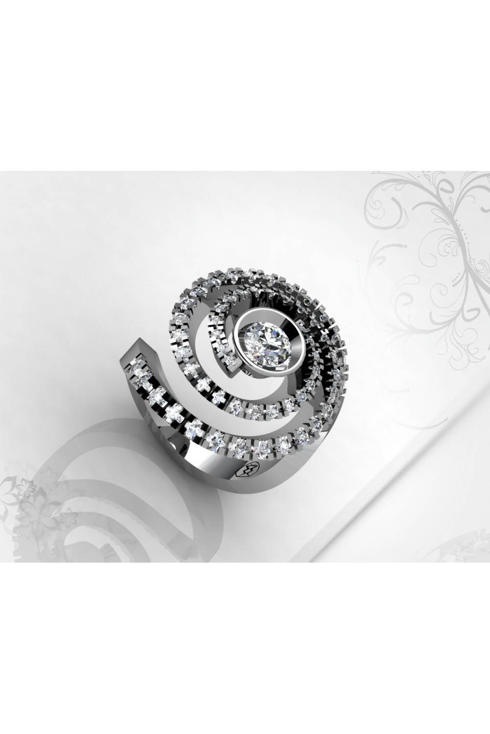 Spiral Shaped 0.22ct Diamond Ring With 46 Brilliants In Spiral Engagement Rings (Gallery 13 of 15)