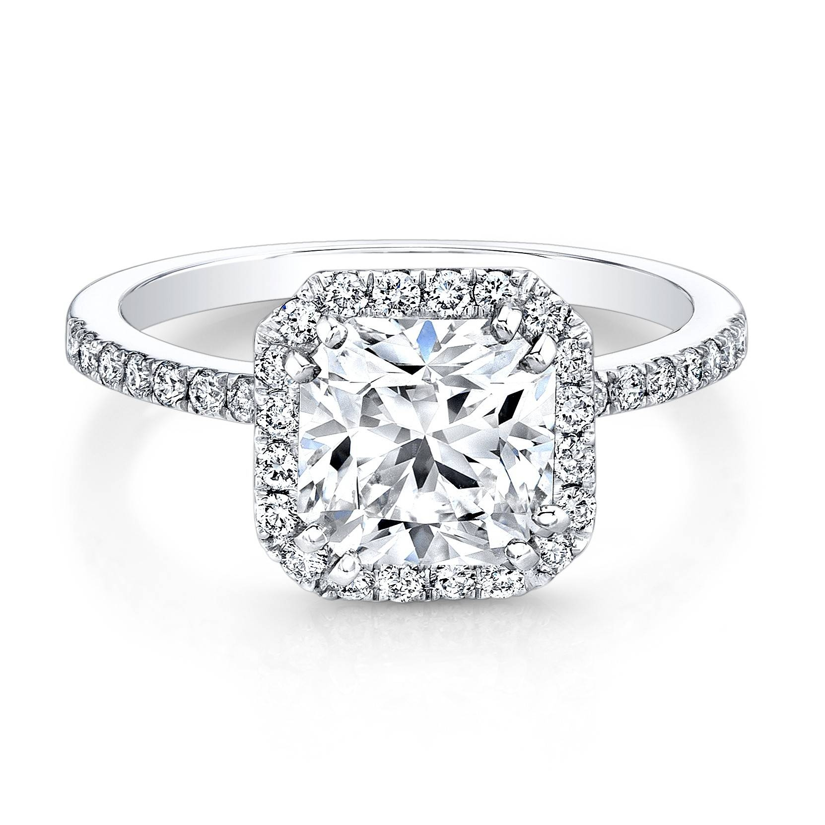 Square Engagement Rings With Diamond Band | Wedding, Promise With Regard To Wedding Rings With Diamond Band (View 14 of 15)