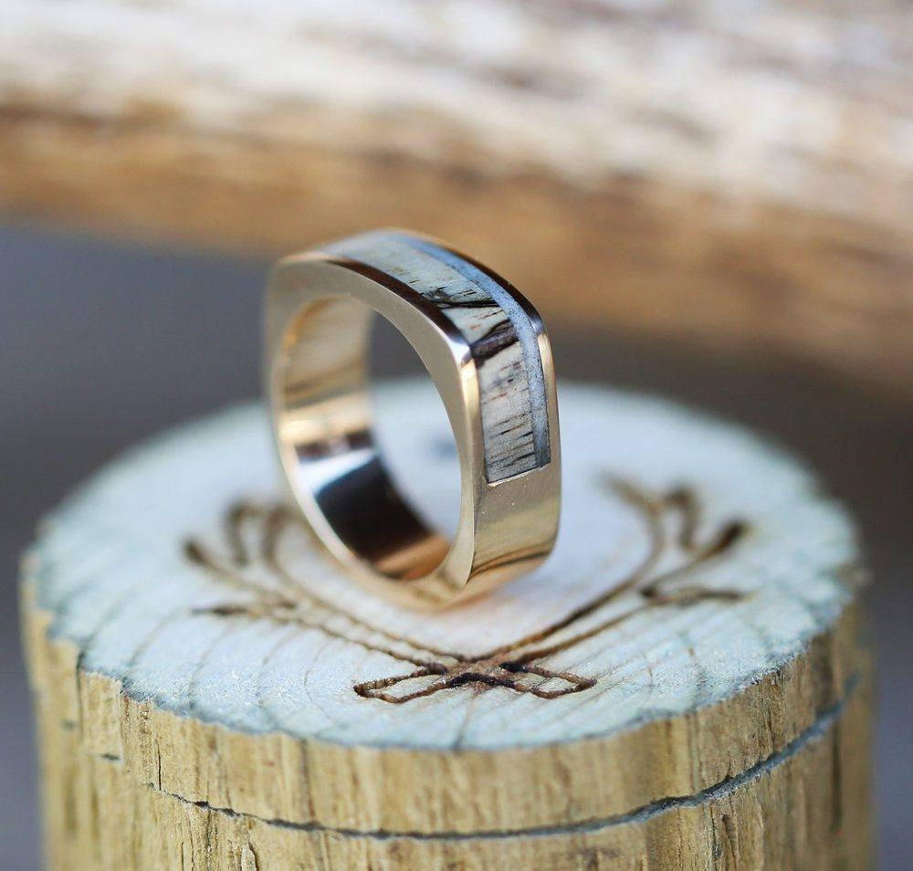 Staghead Designs Within Horn Inlay Titanium Wedding Bands (View 11 of 15)