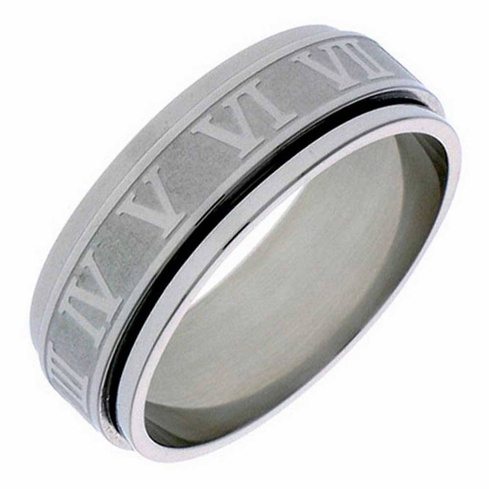 Stainless Numbers Personalized Band 6mm 3006533 – Shop At Wedding Inside Men's Spinner Wedding Bands (View 11 of 15)