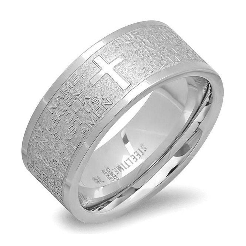 Stainless Steel Bible Lord's Prayer Cross Wedding Band 8Mm Wide Throughout Men's Wedding Bands With Cross (View 13 of 15)