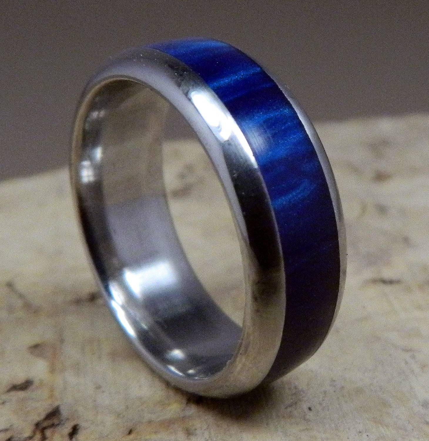 Stainless Steel Ring, Blue Ring, Acrylic Ring, Wedding Ring, Mens For Handmade Mens Wedding Rings (View 10 of 15)