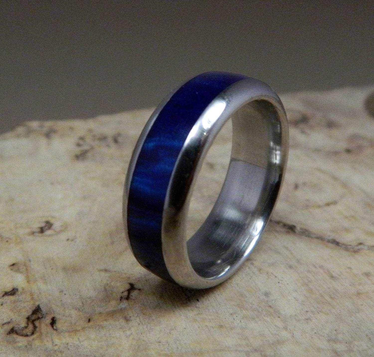 Stainless Steel Ring, Blue Ring, Acrylic Ring, Wedding Ring, Mens Pertaining To Mens Handmade Wedding Bands (View 7 of 15)