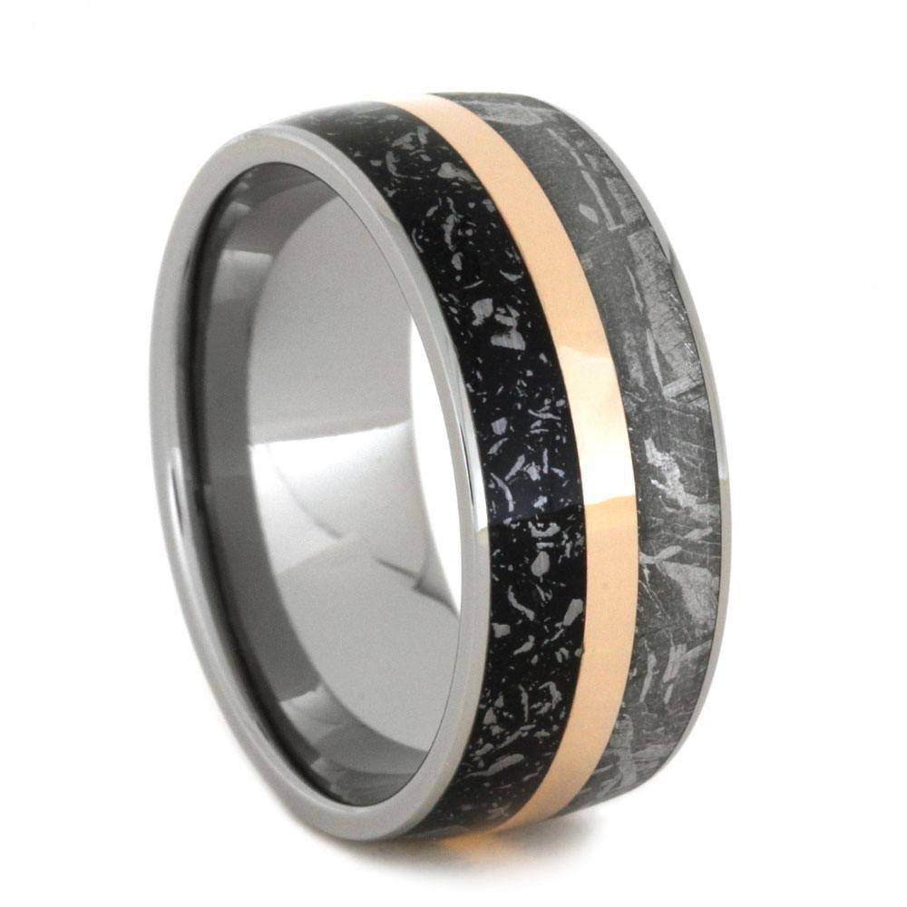 Stardust Meteorite Wedding Band With Rose Gold In Titanium For Black And Rose Gold Men's Wedding Bands (View 14 of 15)