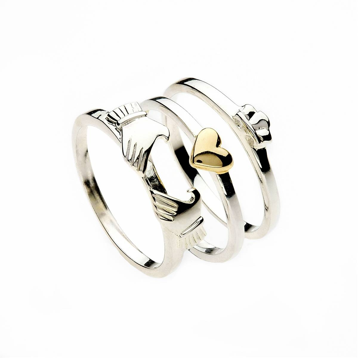 Sterling Silver 3 Part Ladies Claddagh Ring & 10K Yellow Gold Inside Irish Claddagh Engagement Rings (View 11 of 15)