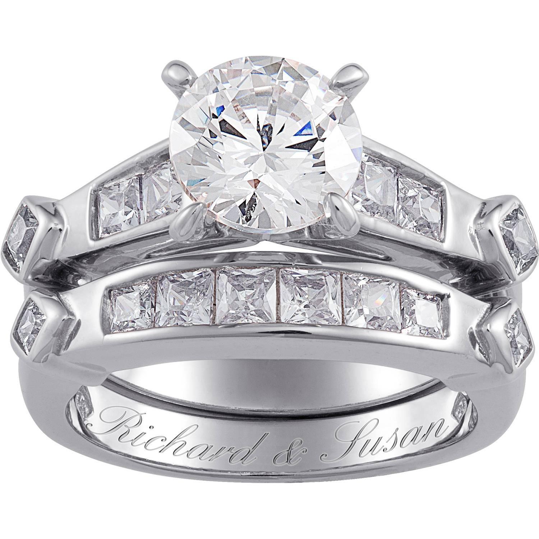 Sterling Silver 66 Carat Tgw Cubic Zirconia 2 Piece Wedding Regarding Walmart White Gold Bands