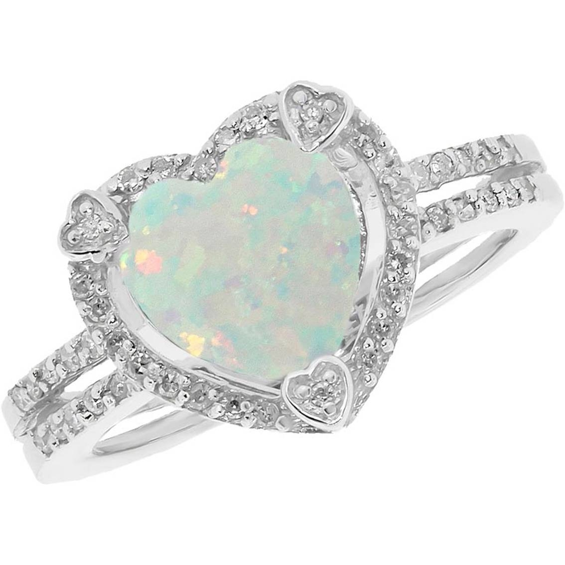 Sterling Silver Created Opal Birthstone Ring With Diamond Accents Throughout October Birthstone Engagement Rings (View 5 of 15)