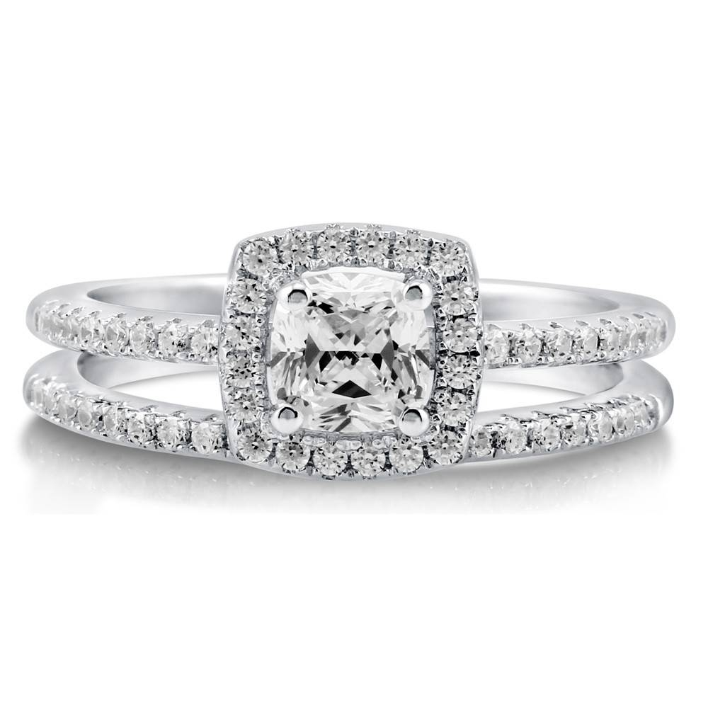 Sterling Silver Cushion Cubic Zirconia Cz Halo Engagement With Wedding Rings With Engagement Ring Sets (View 7 of 15)