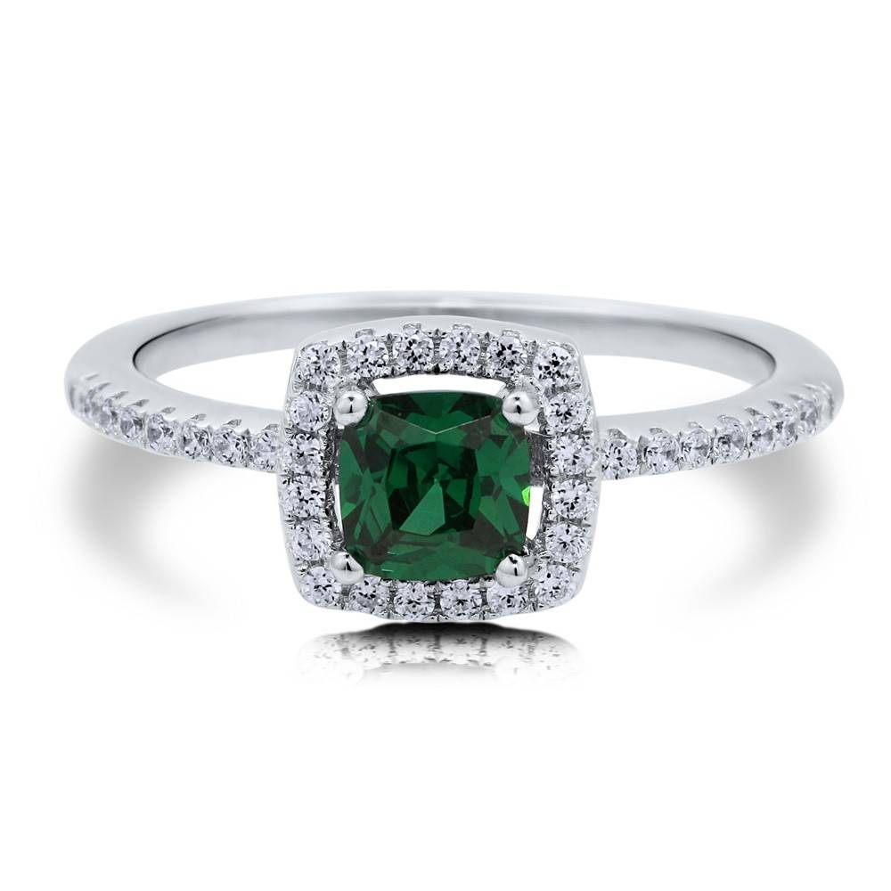 Sterling Silver Cushion Simulated Emerald Cubic Zirconia Cz Halo In Silver Emerald Engagement Rings (View 6 of 15)