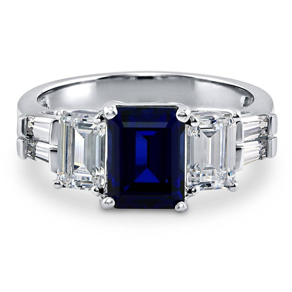 Sterling Silver Emerald Simulated Blue Sapphire Cubic Zirconia Cz Within Emerald Sapphire Engagement Rings (View 9 of 15)