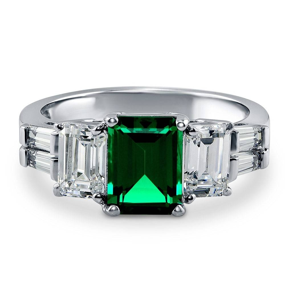 Sterling Silver Emerald Simulated Emerald Cubic Zirconia Cz 3 Within Silver Emerald Engagement Rings (View 14 of 15)
