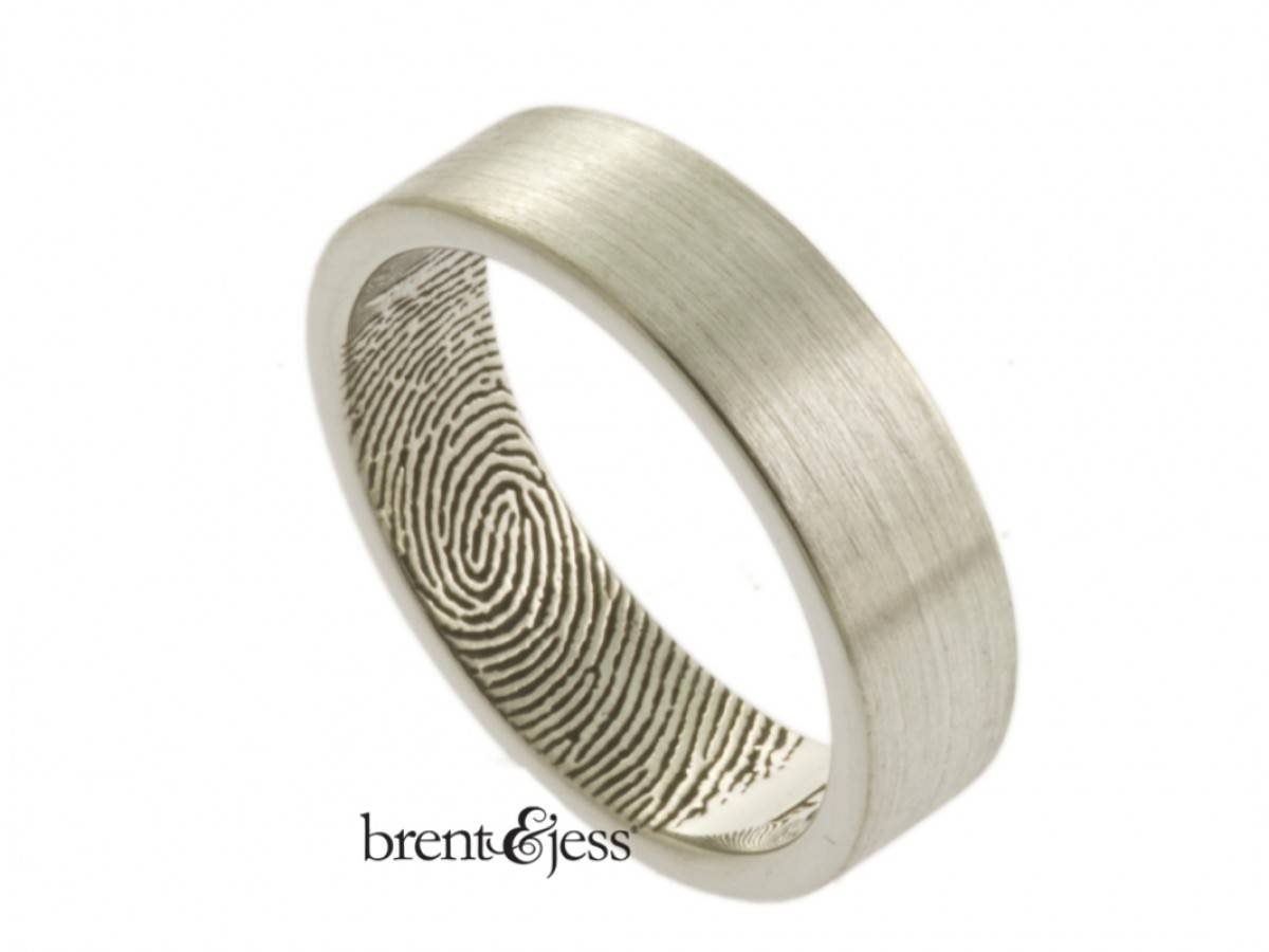 Sterling Silver Fingerprint Wedding Ring With Interior Fingertip In Fingerprint Wedding Rings (View 15 of 15)