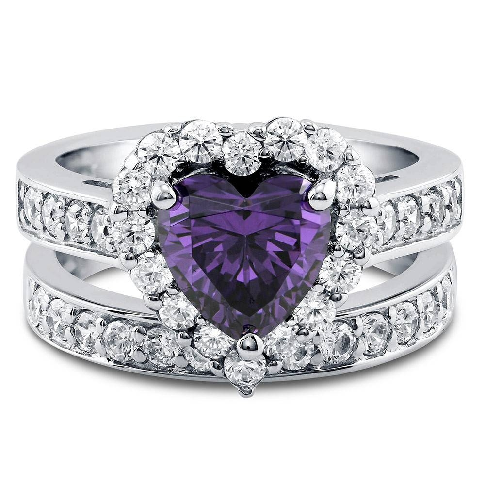 Sterling Silver Heart Shaped Simulated Amethyst Cubic Zirconia Cz With Cz Diamond Wedding Rings (View 11 of 15)