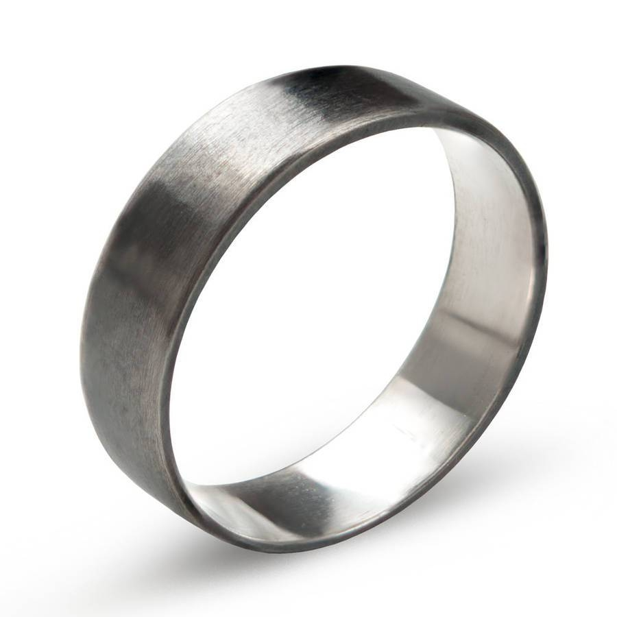 Sterling Silver Oxidized Flat Wedding Band Ringmaapstudio Inside Black And Silver Wedding Bands (View 11 of 15)