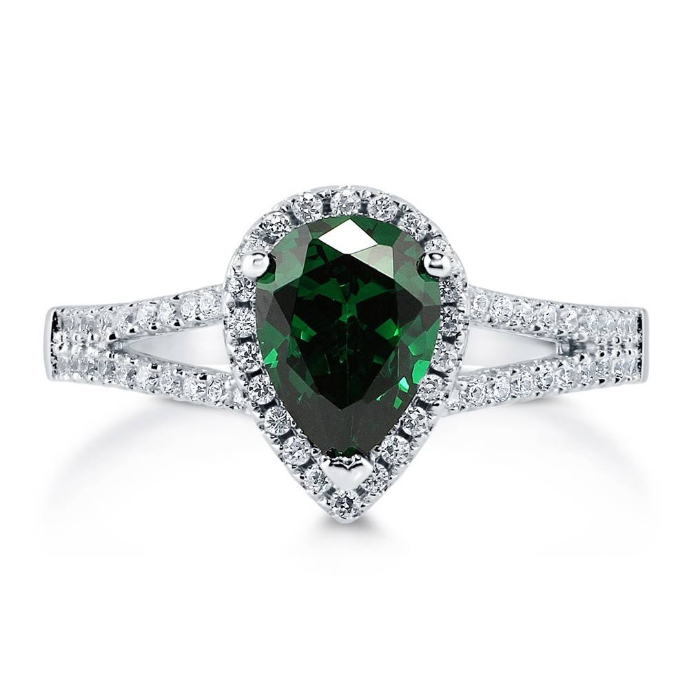 Sterling Silver Pear Simulated Emerald Cubic Zirconia Cz Halo Pertaining To Silver Emerald Engagement Rings (View 7 of 15)