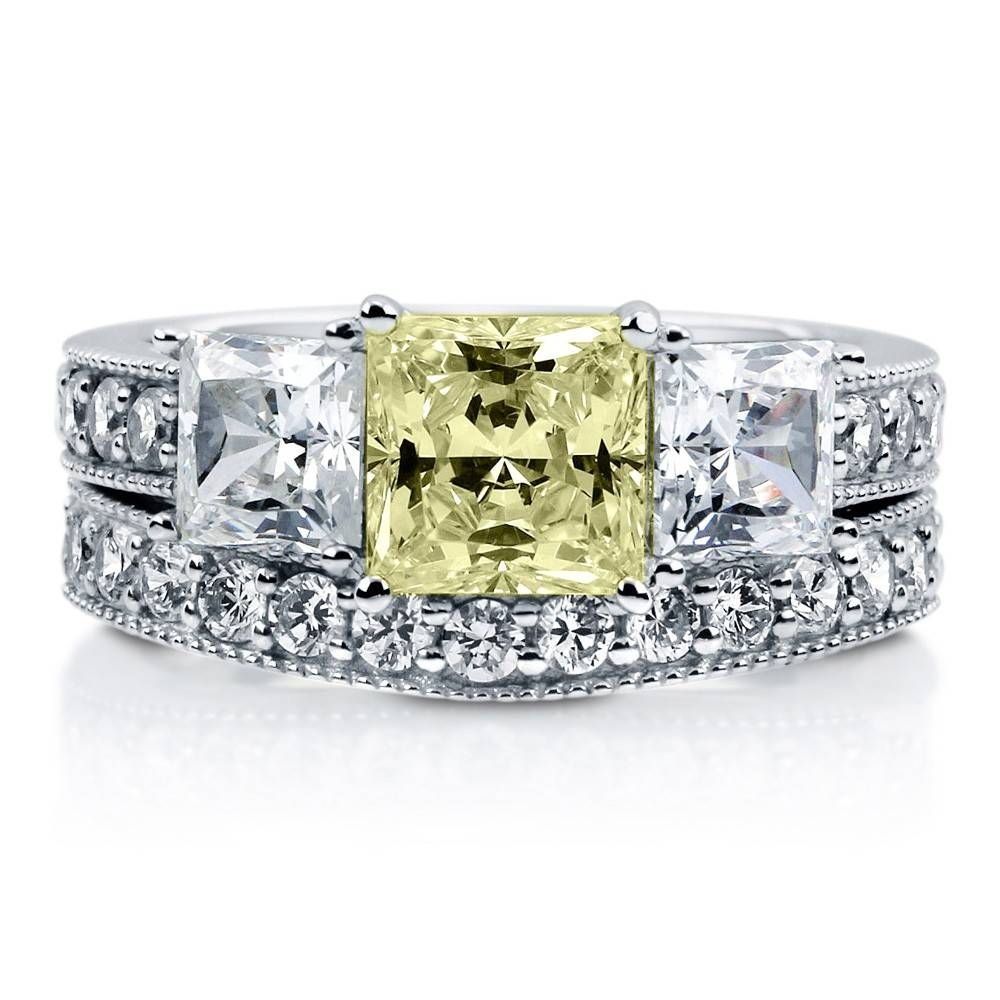 Sterling Silver Princess Canary Yellow Cubic Zirconia Cz 3 Stone With Regard To Engagement Rings With Yellow Stone (View 8 of 15)